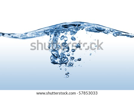 abstract water splash with bubbles - stock photo