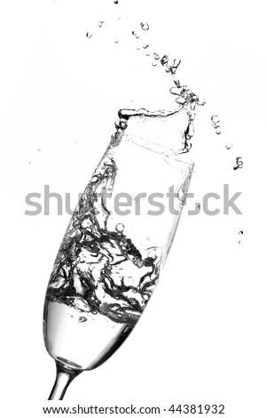 Abstract water splashing out of a champagne glass