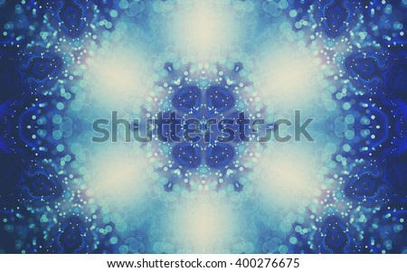 Abstract water themed fractal mandala, digital artwork for creative graphic design