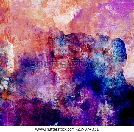 abstract watercolor and gouache textures in red and blue tones - stock photo