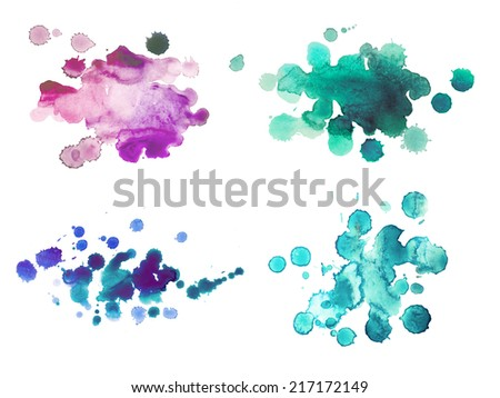 Abstract watercolor aquarelle hand drawn colorful drop splatter stain art paint on white background - stock photo