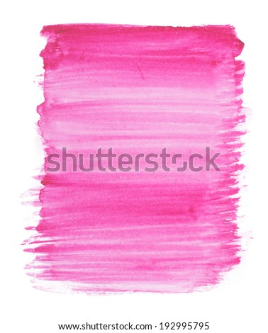 Abstract watercolor art hand paint isolated on white background. Watercolor stains. Square purple-blue watercolour banner - stock photo