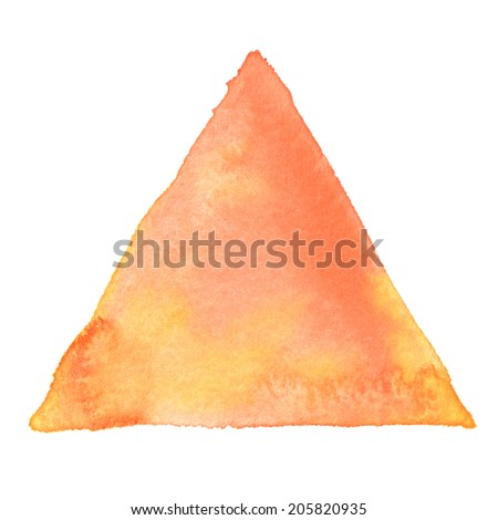 Abstract watercolor art hand paint isolated on white background. Watercolor stains. Triangle red-orange watercolour banner