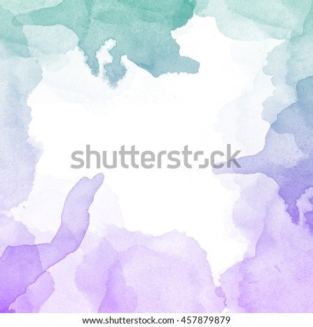 Abstract watercolor art hand paint on white background,watercolor frame, copy space for text inside frame,