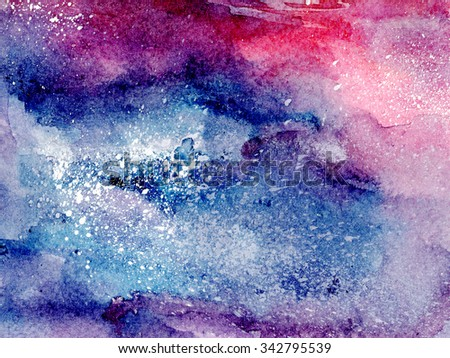 Abstract watercolor art hand painted square background. Watercolor stains. Square colorful vintage water colour texture - stock photo