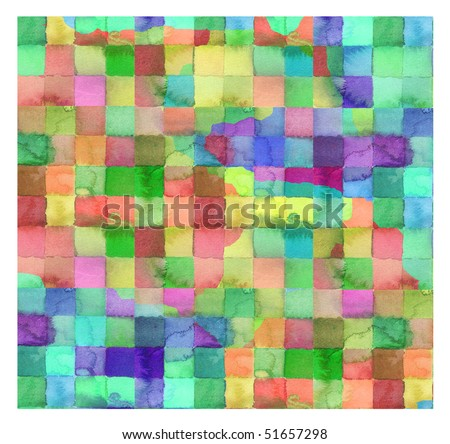 abstract watercolor background checkerboard design - stock photo