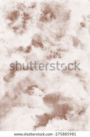 Abstract watercolor background. Cloudy or whipped cream with chocolate, coffee texture. Shades of white and brown. Painted backdrop. Sweet, confectionery backdrop. Raster version.  - stock photo
