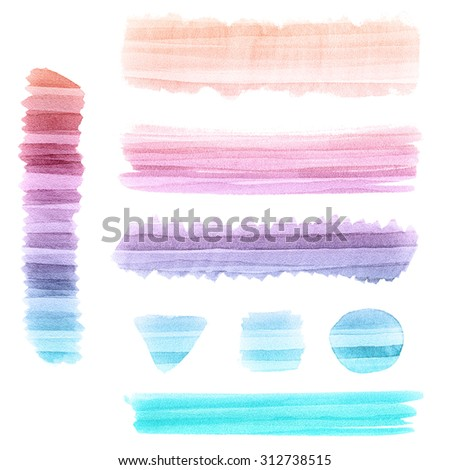 Abstract watercolor background. Colorful labels and banners isolated on white. Wet watercolor texture. - stock photo