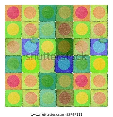 abstract watercolor background design circles and squares