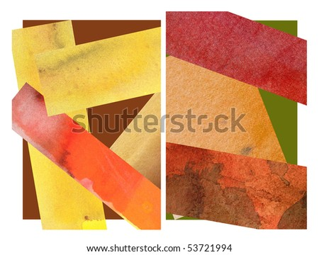 abstract watercolor background design collage shapes - stock photo
