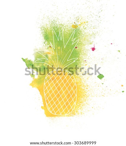 abstract watercolor background- pineapple. hand made drawing. suitable for various designs and scrapbooking