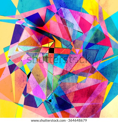 Abstract watercolor background with colorful geometric elements  - stock photo