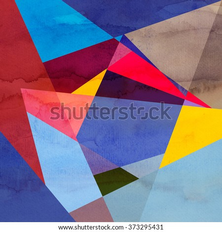 Abstract watercolor background with colorful geometry elements - stock photo