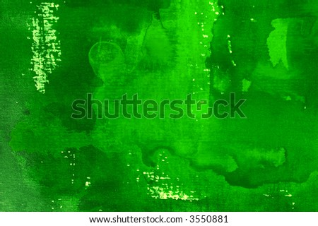 Abstract watercolor background with green layers on visible paper texture