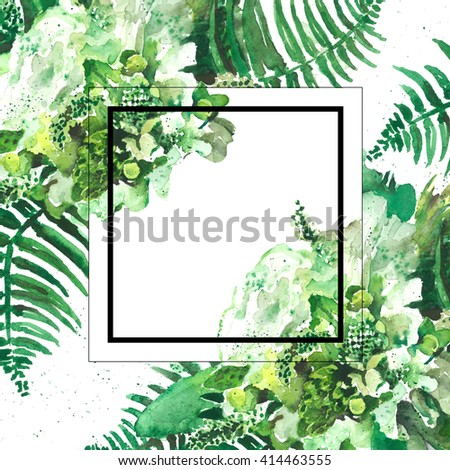 Abstract watercolor background with tropical plant. Printing, invitations card.