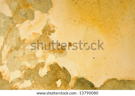 Abstract watercolor background with yellow and green layers