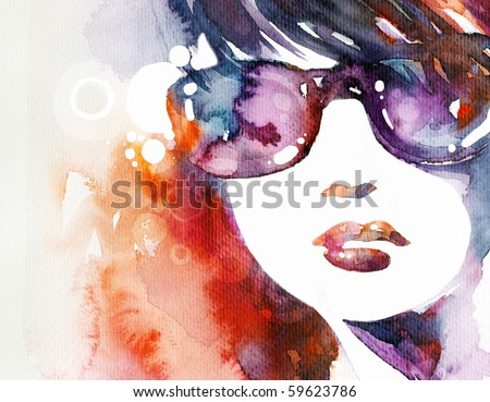 Abstract watercolor beauty portrait - stock photo