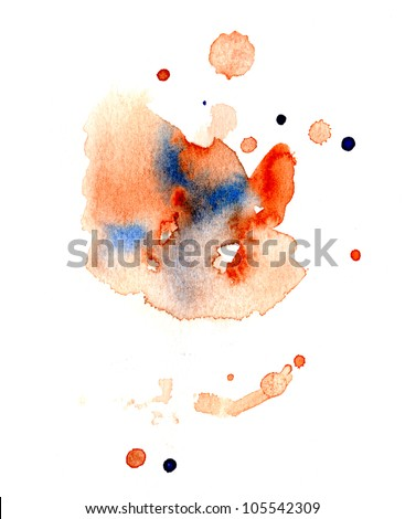 Abstract watercolor blots - stock photo