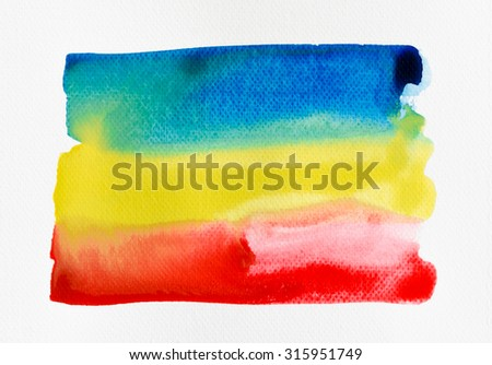 Abstract watercolor brush background on white watercolor paper. - stock photo