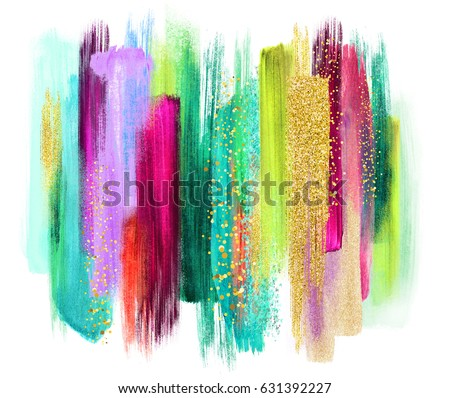Abstract Watercolor Brush Strokes Isolated On Stock