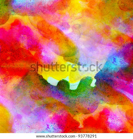 abstract watercolor color canvas painting colorful watercolour  background with blots - stock photo