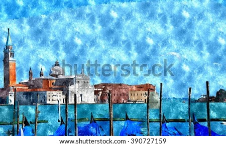 Abstract watercolor digital generated painting of the Church of San Giorgio Maggiore with gondolas in front in Venice, Italy.Venice watercolor. Venice painting. Venice city. Venice in Italy.   - stock photo