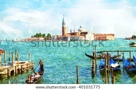 Abstract watercolor digital generated painting of the Church of San Giorgio Maggiore with gondolas in Venice, Italy. - stock photo