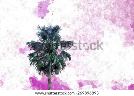 abstract watercolor effect pattern of coconut tree on blue sky - stock photo