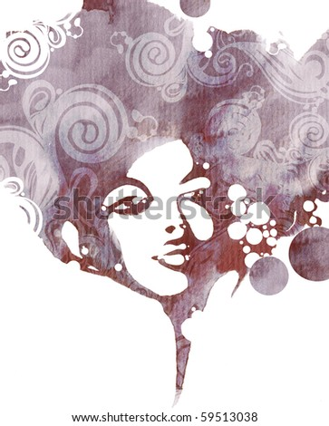 Abstract watercolor fashion design - stock photo