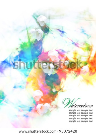 Abstract Watercolor floral - stock photo