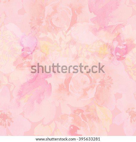 Abstract watercolor flowers background. Background for greeting card. Handmade. Pattern. - stock photo