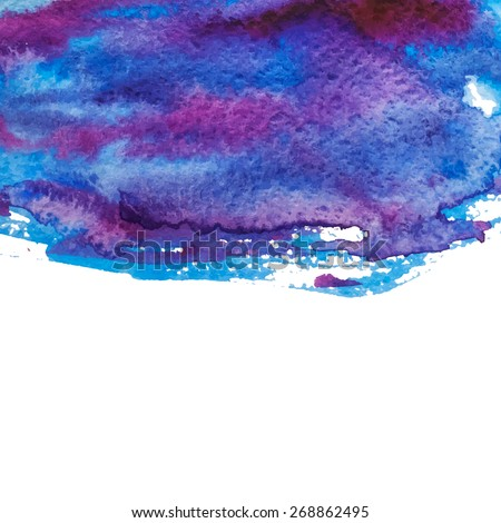 Abstract watercolor hand drawn background. Blue and purple watercolor splash - stock photo