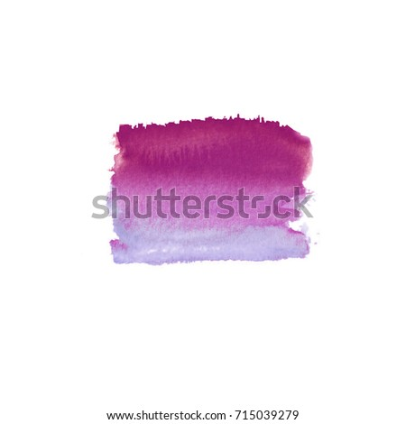 Abstract watercolor hand drawn stain. Watercolor design element. Watercolor magenta background.
