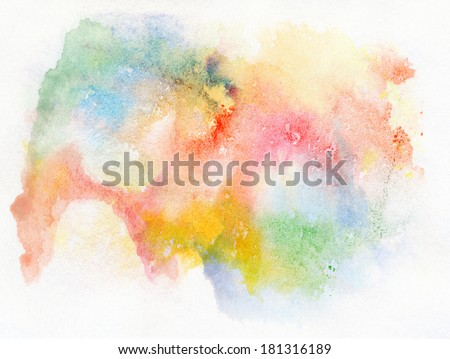 Abstract watercolor hand painted background. - stock photo