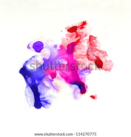 Abstract watercolor hand painted background. Blue spot, watercolor abstract hand painted background - stock photo
