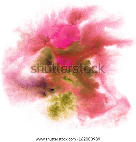 Abstract watercolor hand painted background in pink colors - stock photo