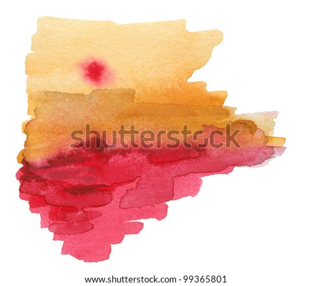 Abstract watercolor hand-painted background. Isolated. - stock photo