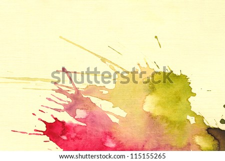 Abstract watercolor hand painted background. Watercolor blot background, raster illustration. - stock photo