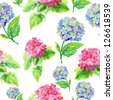 Abstract watercolor hand painted backgrounds with hydrangea. - stock photo