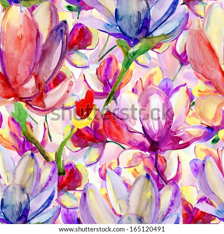 Abstract watercolor hand painted backgrounds with magnolia and orchid. - stock photo