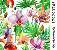 Abstract watercolor hand painted backgrounds with magnolia, lily , orchid flowers and tropical leaves. - stock