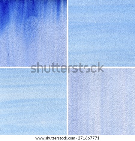 Abstract watercolor hand painted banners.Striped graphic art design elements for website or brochure headers or sidebars.Vintage grunge texture. Set of blue hand painted backgrounds.