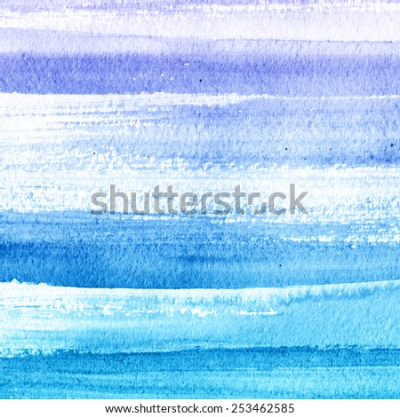 Abstract watercolor hand painted brush strokes. Horizontal striped background. Blue and white brush strokes. Hand drawn technique.  - stock photo