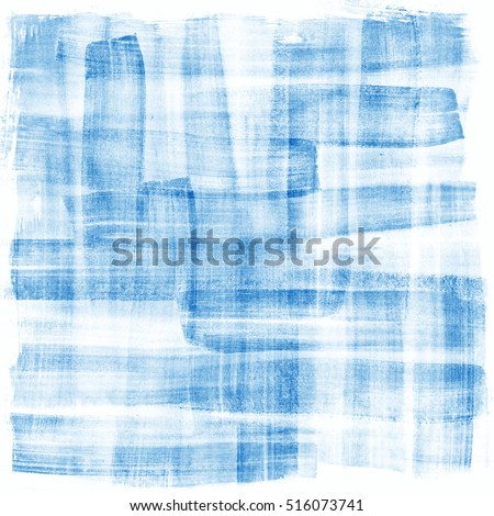Abstract watercolor hand painted brush strokes. Horizontal striped background. Light blue and white brush strokes.