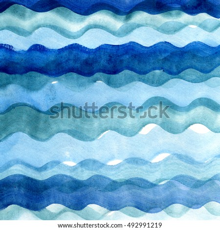 Abstract watercolor hand painted brush strokes, striped background. Blue water and waves.