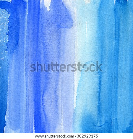 Abstract watercolor hand painted brush strokes. Vertical striped background. Blue and white brush strokes on paper texture. - stock photo