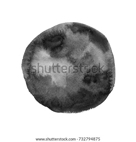 Abstract watercolor hand painted monochrome circle texture. Abstract artistic element isolated on white background.