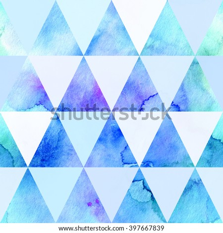 Abstract watercolor hand painted seamless pattern with triangles - stock photo