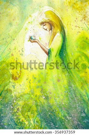 Abstract watercolor illustration depicting a portrait of a woman-spring - stock photo