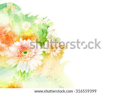 Abstract watercolor illustration of blossom gerbera. Watercolor painting on paper. Floral watercolor illustration. - stock photo